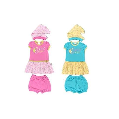 Комплект для девочки (платье, трусики, косынка) CSB 9194