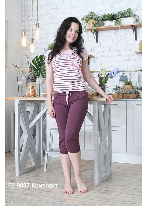 Комплект женский (футболка, бриджи) FS 9087