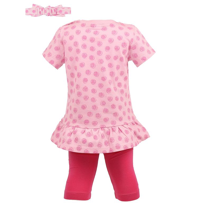"""Комплект для девочки (платье типа """"туника"""", бриджи, шапочка) CSN 9828"""